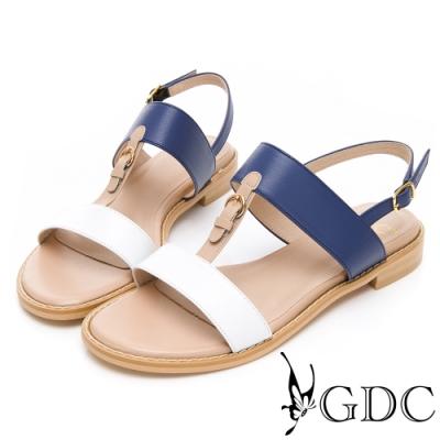 GDC-小歐洲奧戴莉真皮拼接一字中跟涼鞋-白色