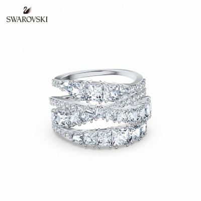 SWAROVSKI 施華洛世奇 Twist Wrap 白金色螺旋曲線白色戒指 55