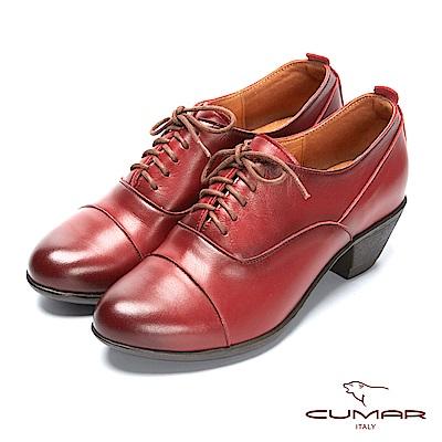 CUMAR簡約步調 - 擦色綁帶尖頭粗跟踝靴