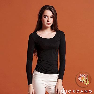 GIORDANO 女款Beau-warmer plus+彈力圓領極暖衣-08 黑色