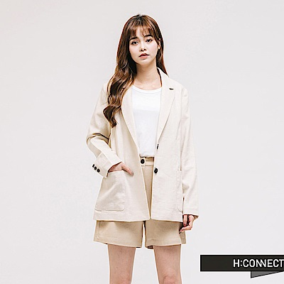 H:CONNECT 韓國品牌 女裝-純色棉麻西裝外套-卡其