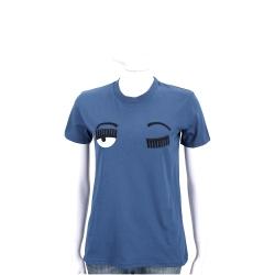 Chiara Ferragni Flirting 眨眼刺繡質感藍棉質短袖T恤