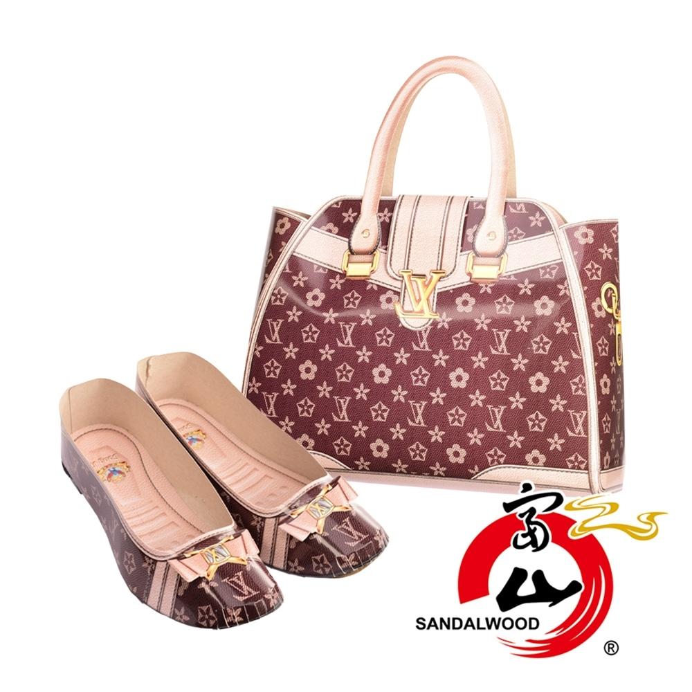 富山檀香 國際精品 典雅仕女時尚包鞋組 時尚穿搭 1:1 往生紙紮 老花手提包 老花低跟鞋 粉色款