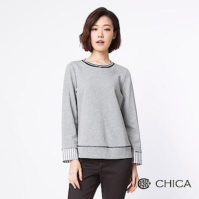 CHICA 本味知青配色車縫線造型上衣(2色)