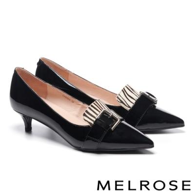 低跟鞋 MELROSE 知性時髦金屬飾釦異材質拼接全真皮尖頭低跟鞋-黑白