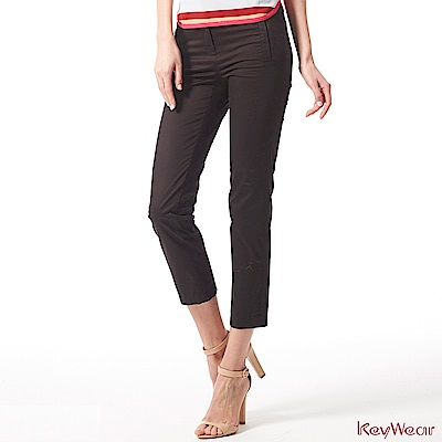 KeyWear奇威名品    時尚商務經典棉九分褲-黑色