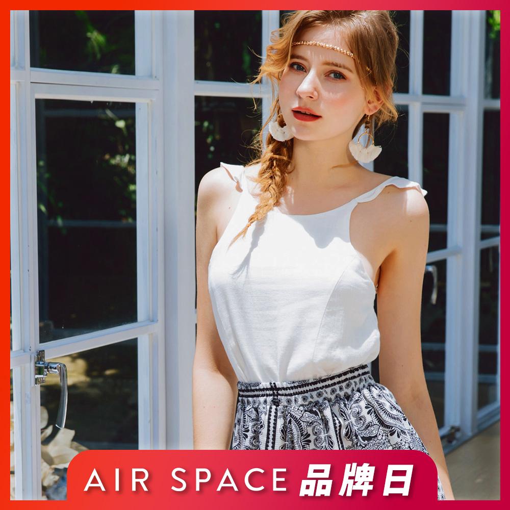[時時樂限定]AIR SPACE 波浪肩帶棉麻背心(2色任選)