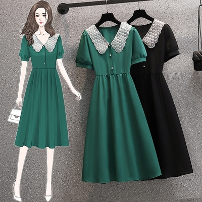 甜美蕾絲花邊拼接釘珠衣領氣質洋裝L-4XL(共二色)-KVOLL