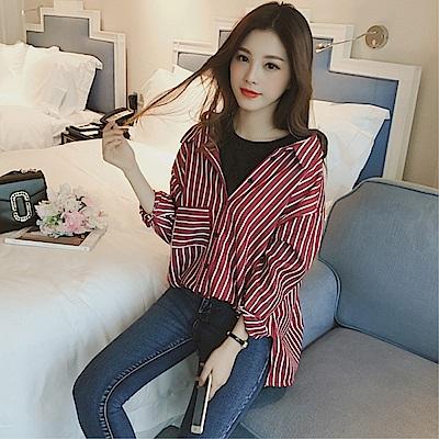 DABI 韓國風圓領豎條紋假兩件襯衫長袖上衣