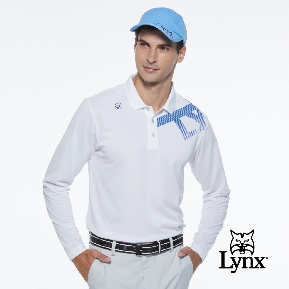 【Lynx Golf】男款吸濕排汗Lynx字樣山貓繡花長袖POLO衫-白色