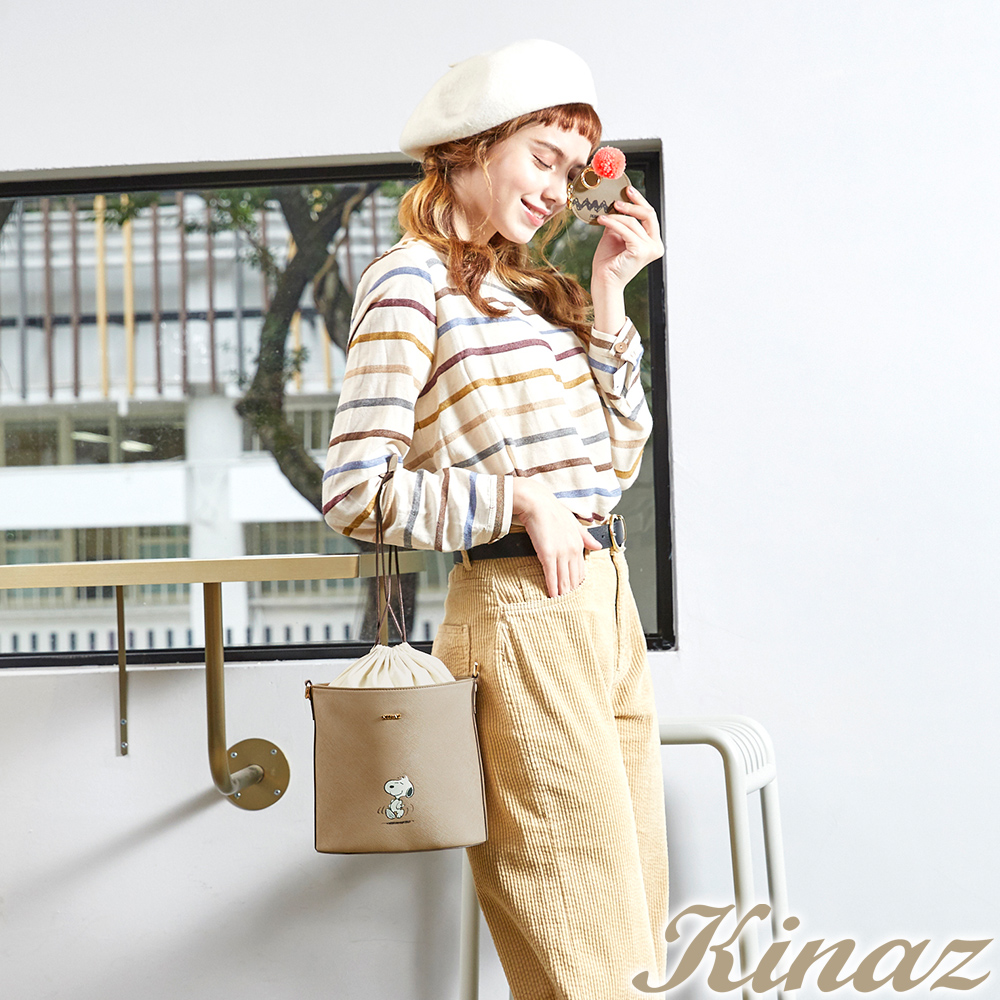 KINAZ x PEANUTS™ 光合野餐斜背水桶包-糖霜歐蕾-好日子系列-快