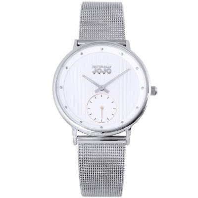 NATURALLY JOJO 簡約魅力米蘭帶手錶-銀/35mm