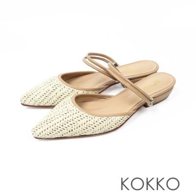 KOKKO -度假風麻編穆勒鞋-質感杏