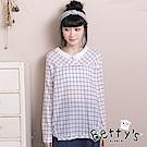 betty's貝蒂思 日系格紋上衣(白色)