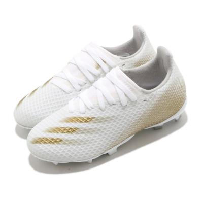 adidas 足球鞋 X Ghosted 3 FG 襪套式 童鞋 愛迪達 偏硬場地 短草場地 釘鞋 中童 白 金 EG8210