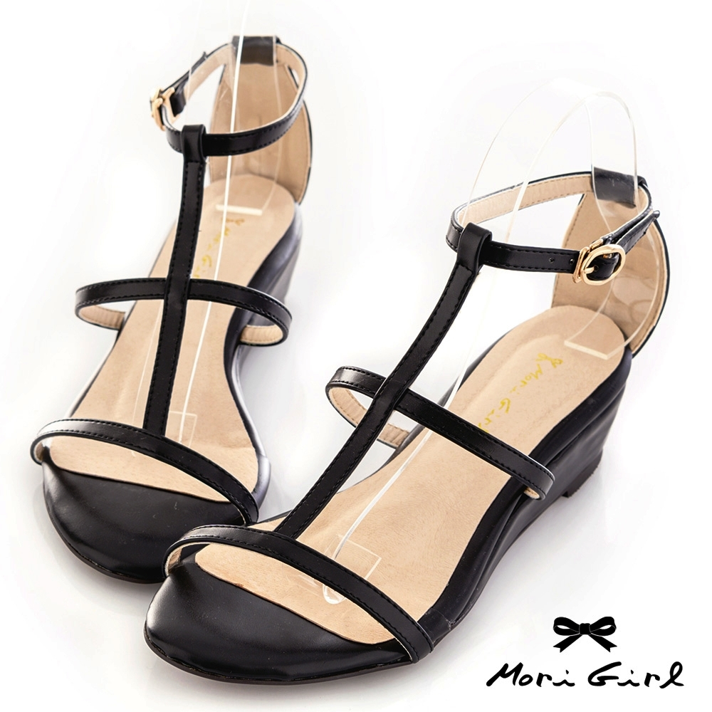 Mori girl鏤空線條楔型低跟涼鞋 黑