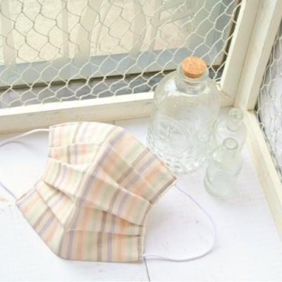 TEMARIYA 日本製 可水洗手作立體口罩M(直紋)-粉/紫