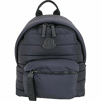 MONCLER 標籤拉鍊深藍色尼龍絎縫後背包