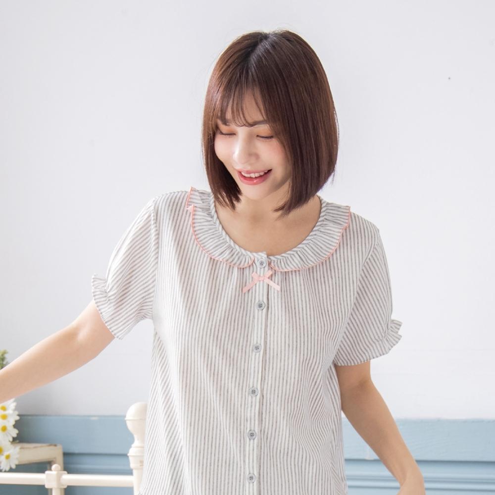 RoseMony羅絲夢妮 - 戀上甜蜜全開釦短袖褲裝睡衣(甜甜灰) (甜甜灰)