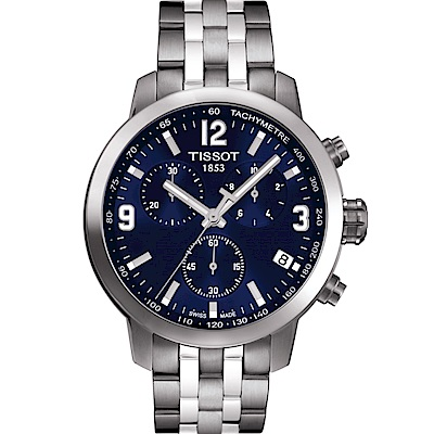 TISSOT PRC200 霸氣時尚三眼計時腕錶(T05541711047)-藍/42mm