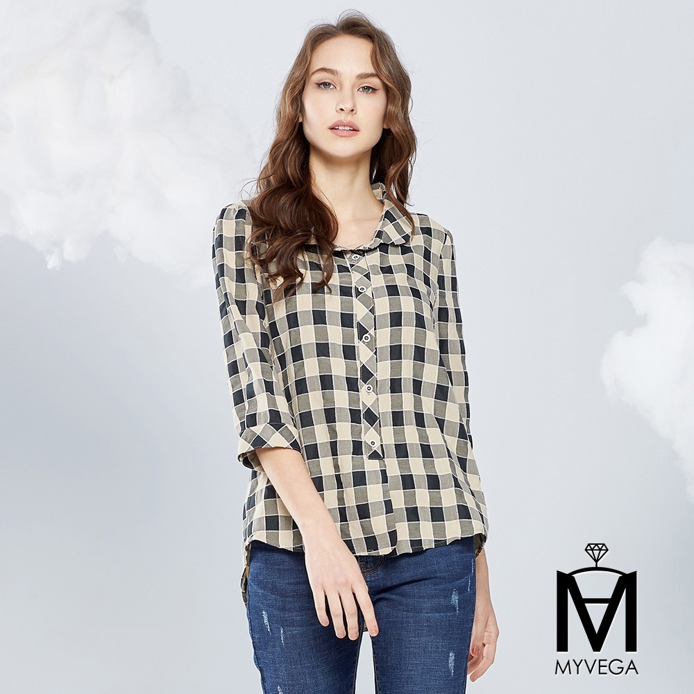 MYVEGA麥雪爾 MA特殊毛邊車線格紋襯衫-米