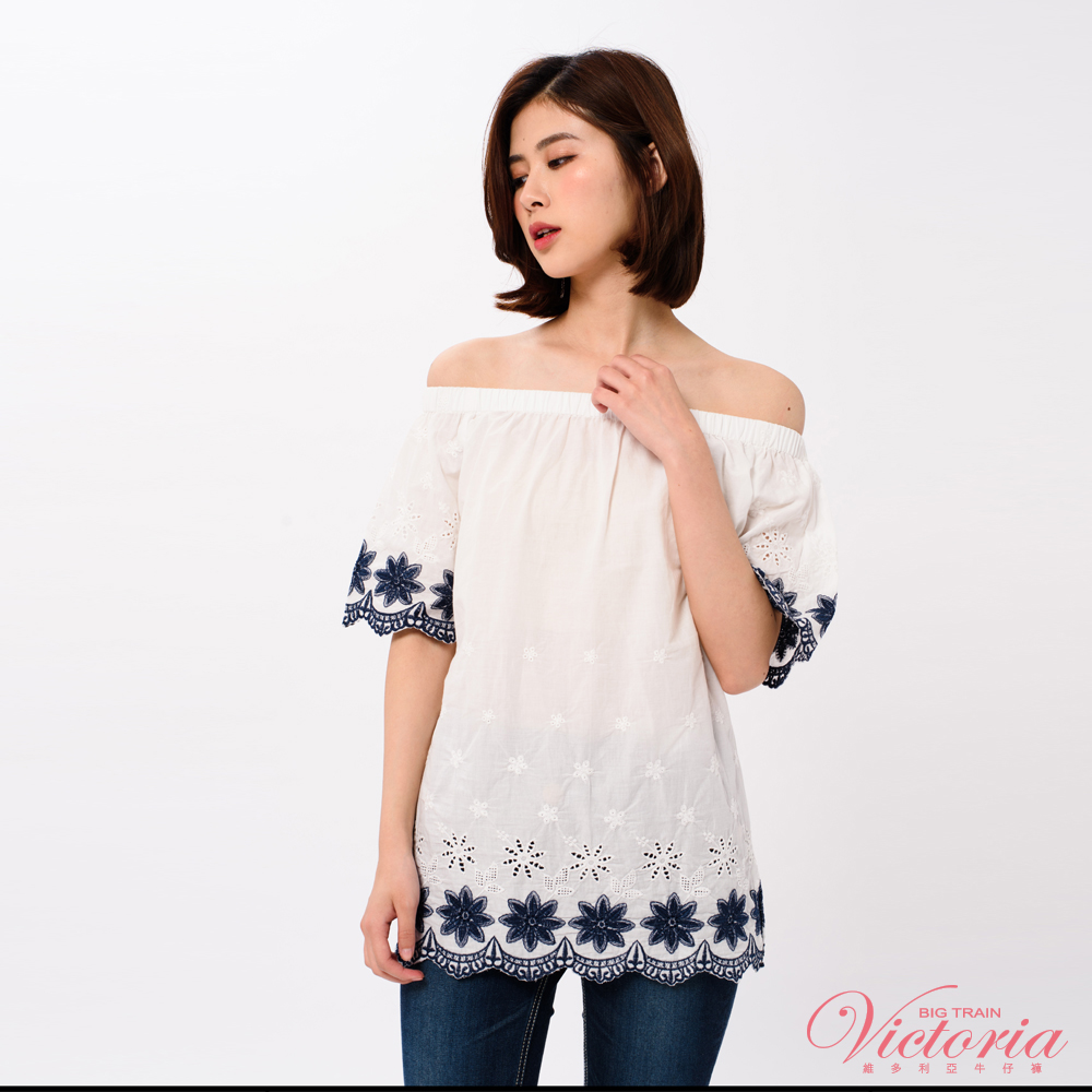 Victoria 平織布肩式短袖T(活動肩帶)-女-白色