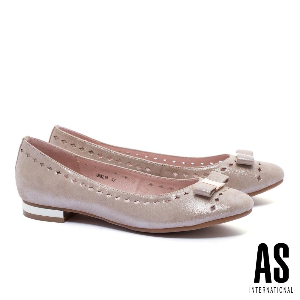 低跟鞋 AS 氣質典雅蝴蝶結全真皮低跟鞋-金