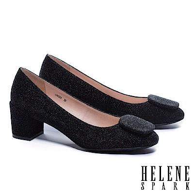 高跟鞋 HELENE SPARK 前衛時髦方飾金蔥布方頭粗跟高跟鞋-黑