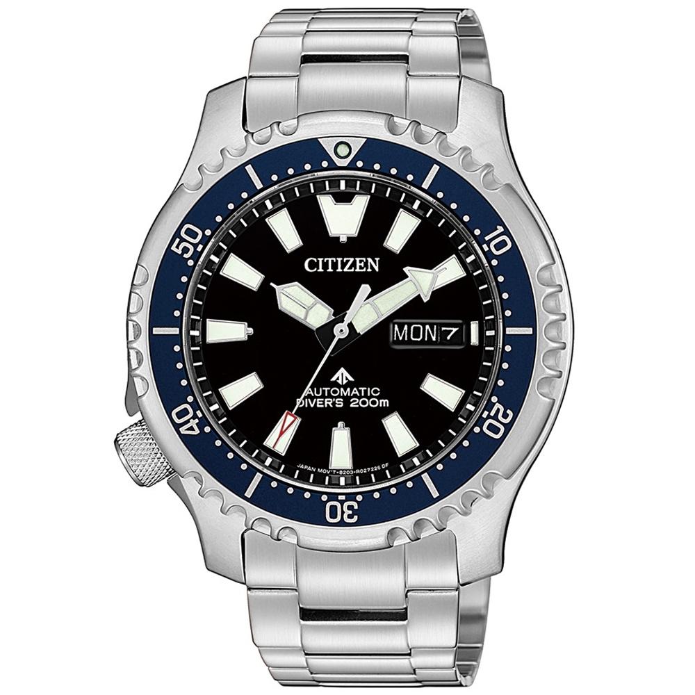 CITIZEN 限量河豚艦隊機械潛水錶(NY0098-84E)-藍x黑/42mm