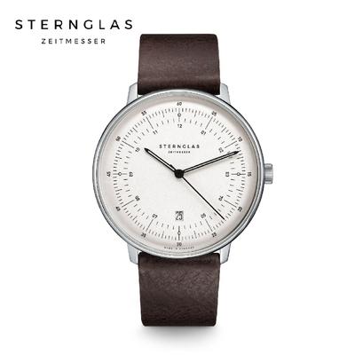 STERNGLAS 德國希丹格斯 S01-HH10-VI11 緞面銀儀表白盤文青石英錶(深棕錶帶) 42mm 男/女錶