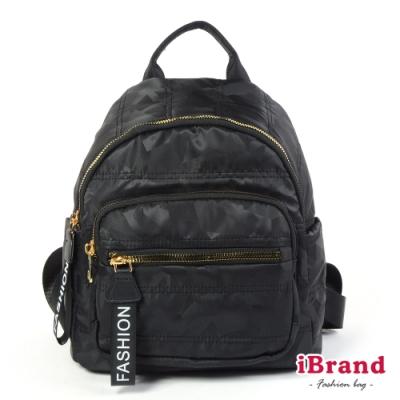 iBrand後背包 輕盈尼龍空氣包後背包-幾何黑