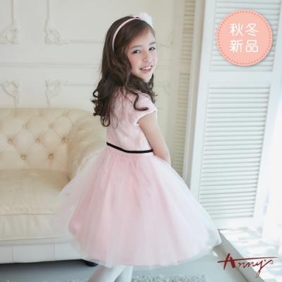 Annys安妮公主-小白花蝴蝶結腰帶秋冬款拼接紗裙禮服*8214粉色