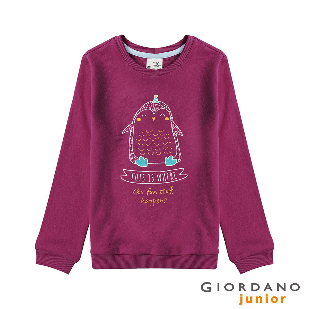 GIORDANO  童裝趣味塗鴉印花長袖T恤-33 樹莓紫