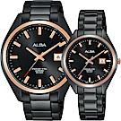 ALBA雅柏 城市情人時尚對錶-黑x玫塊金框/42+32mm