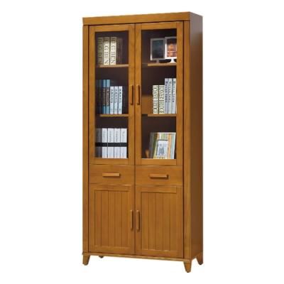 綠活居 賽米普美型2.8尺實木四門二抽書櫃/收納櫃-84x30x190cm免組