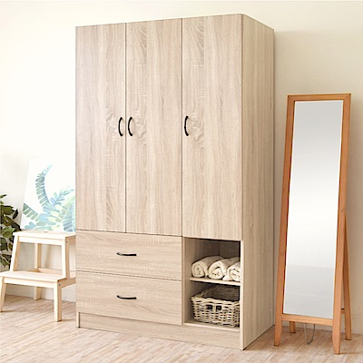 《HOPMA》DIY巧收典藏三門二抽二格衣櫃-寬89.5 x深48 x高179.5cm