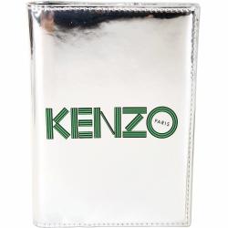 KENZO 幾何LOGO鏡面皮革護照夾(銀色)
