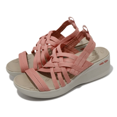 Skechers 涼鞋 Pier Lite 楔型鞋 編織織帶 女鞋 避震 緩衝 百搭 夏日 增高 粉 淺褐 163271CRL
