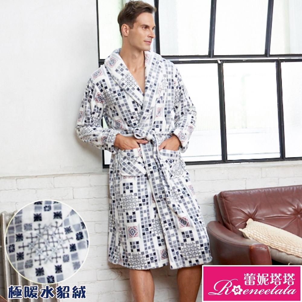 睡袍 極暖水貂絨男性睡袍(R80228-6灰藍格紋)蕾妮塔塔