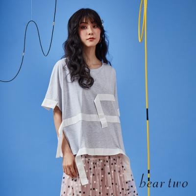 beartwo-幾何裝飾帶寬T-灰