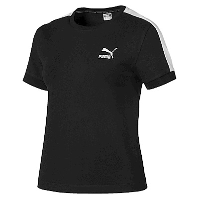 PUMA-女性流行系列經典T7貼身短袖T恤-黑色-歐規