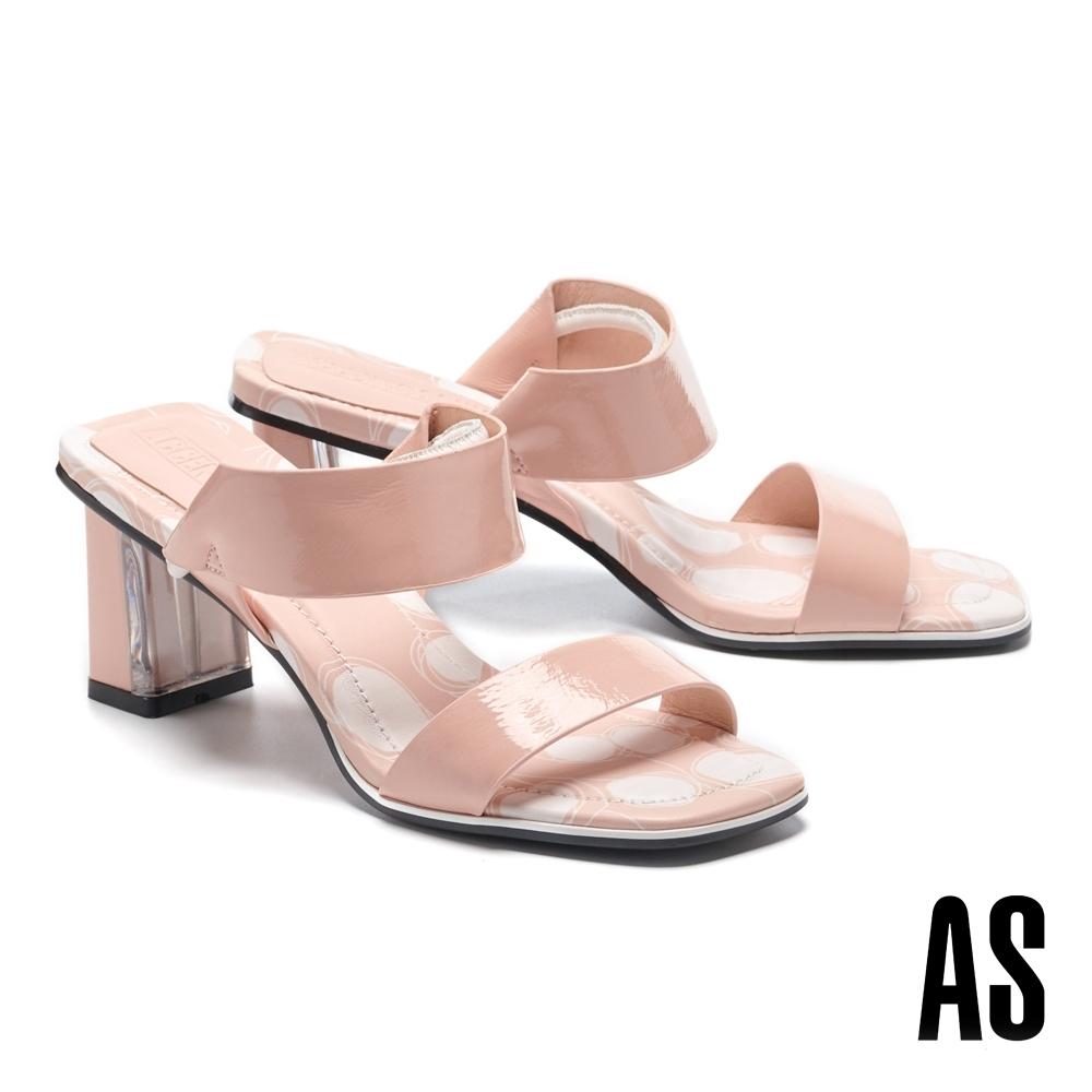 拖鞋 AS 法式優雅寬版繫帶兩穿式全真皮方頭高跟拖鞋-粉