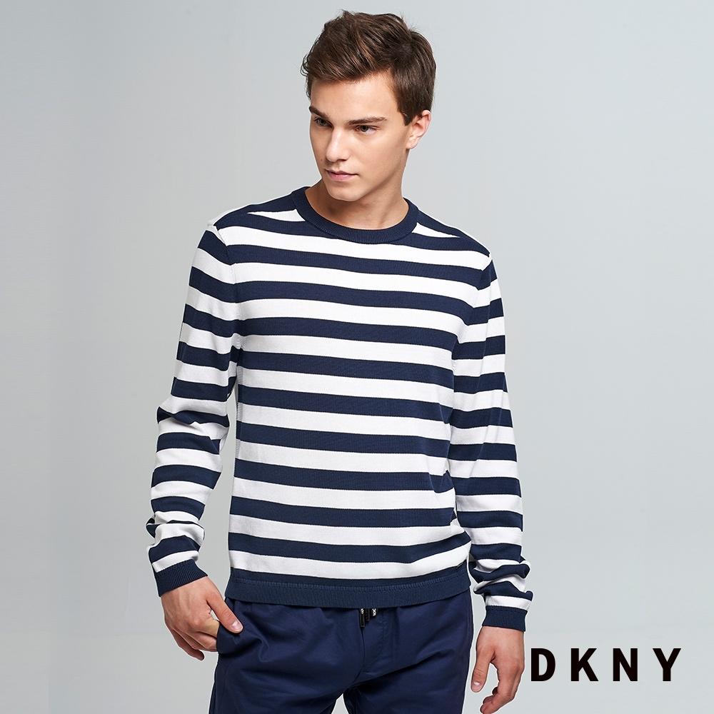 DKNY 男款 時尚條紋針織衫 黑白