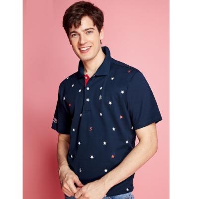 Spar雙棉吸濕排汗男版短袖POLO衫S208213黑藍色