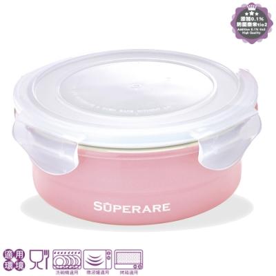 Superare 鑄瓷可微波保鮮盒-圓型-500ml-粉色-2入組