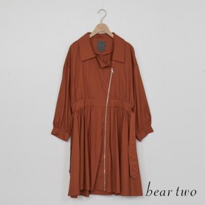 beartwo-斜拉鍊造型洋裝式外套-咖啡