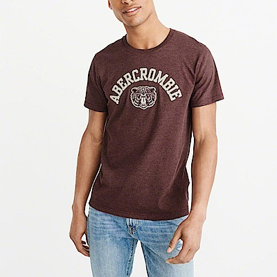 A&F 經典刺繡文字圖騰設計短袖T恤-酒紅色 AF Abercrombie