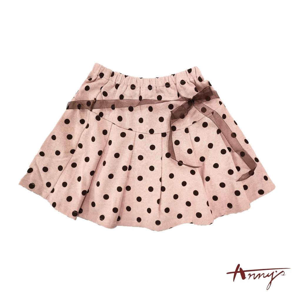 Annys安妮公主-可愛點點秋冬款網紗綁帶鬆緊短裙*8266粉紅