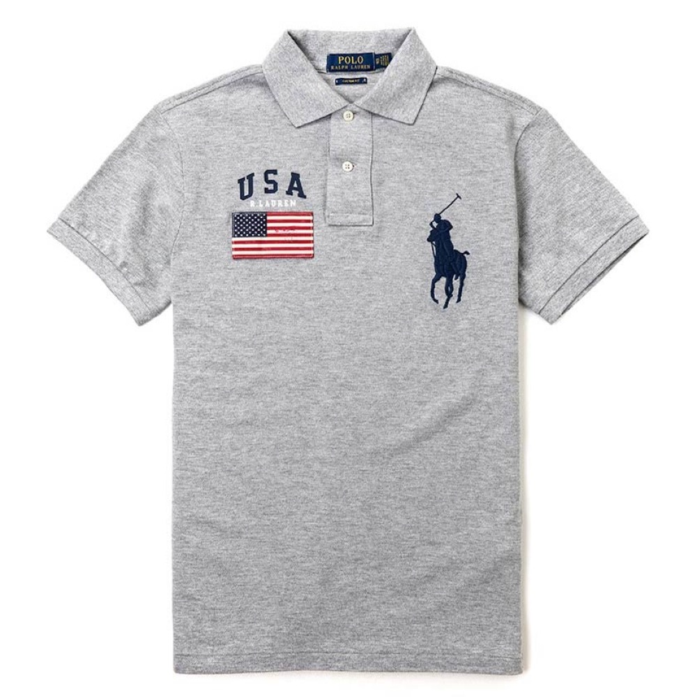 Polo Ralph Lauren 電繡國旗大馬Polo衫(Custom)-灰色