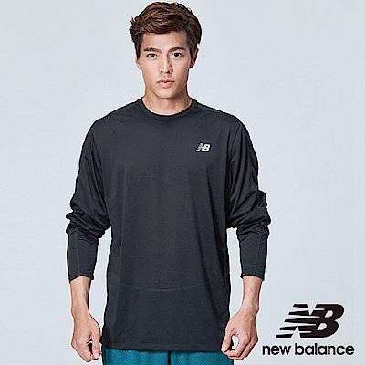 New Balance 彈性花紗長袖上衣 MT83911BK 男 黑